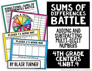 Sums of Differences Battle: 4th Grade Math Centers 4.NBT.4