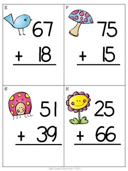 Sums of Spring Scoot - First Grade Common Core Alligned Adding with Regrouping