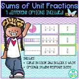 Sums of Unit Fractions - 4 Options Included! TEKS 3.3D