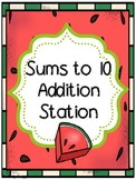 Sums to 10 Addition Workstation