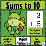 Sums to 10 - Digital Flashcards-Google Classroom Distance