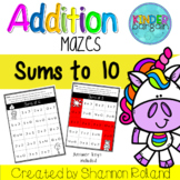 Addition Worksheets-Sums to 10 Mazes