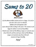 Sums to 20 Math Center