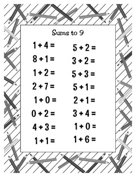 Sums to 9 Printable Worksheets - 11 Different Work Sheets - Addition - Unique