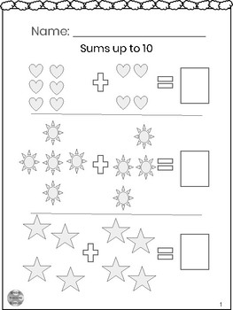 Special Education - Addition - Sums up to 10 w/Visuals - Write the Answer