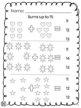 Special Education - Addition - Sums up to 15 with Visuals - Circle the Answer