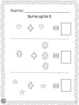 Special Education - Addition - Sums up to 5 w/Visuals - Write the Answer