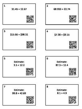 Sums/Differences/Estimation of Decimals QR Task Cards