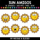 Summer Sun Faces Amigos Clipart