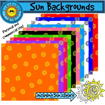 Sun Backgrounds, Digital Papers - 300 dpi