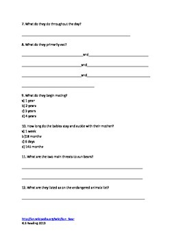 Sun Bear - Review Article Information Facts Questions Vocabulary Word Search