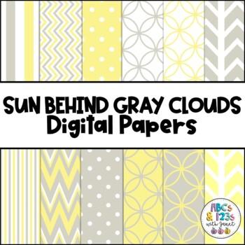 Sun Behind Gray Clouds Digital Paper Pack