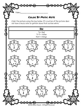 Sun Color By Music Note Rhythm Coloring - Quarter Rest Edition