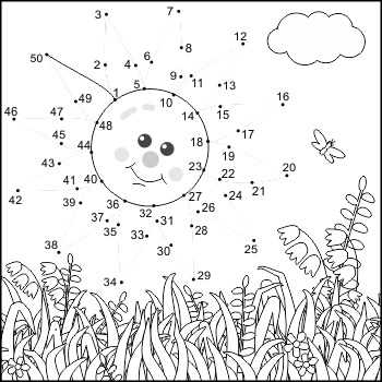 Connect the Dots and Coloring Page with Sun, Commercial Use Allowed