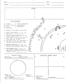 Sun Diagram Worksheet (sunspots solar observing)