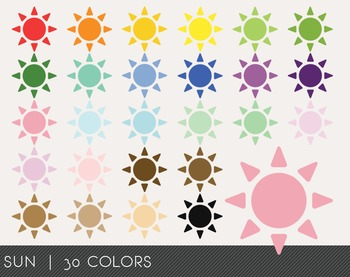 Sun Digital Clipart, Sun Graphics, Sun PNG, Rainbow Sun Digital Files