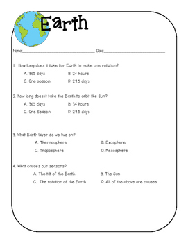Sun, Earth, Moon Quizzes with answer keys