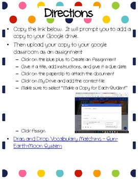 Sun-Earth-Moon System Drag-n-Drop Vocab for Google Classroom