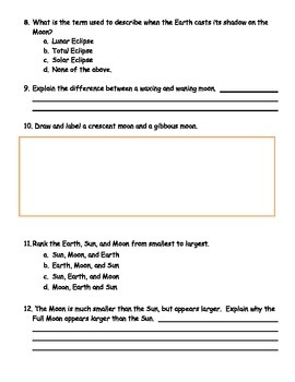 Sun, Earth, Moon Test and Review