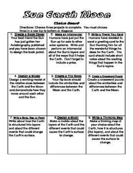 Sun, Earth, and Moon Choice Board