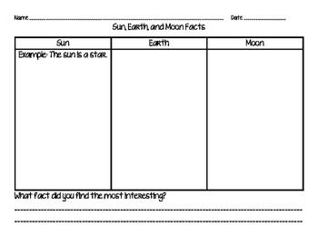 Sun, Earth, and Moon Fact Sheet