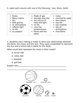 Sun, Earth, and Moon Homework