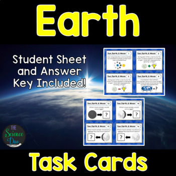 Earth Task Cards - Seasons, Moon Phases, Tides, and Eclipses