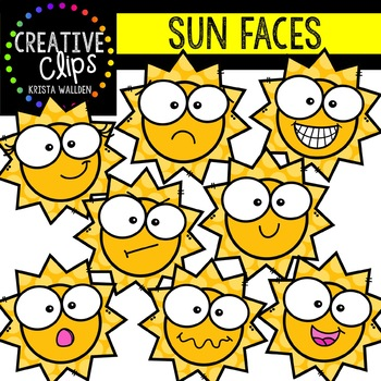 Sun Faces: Summer Clipart {Creative Clips Clipart}