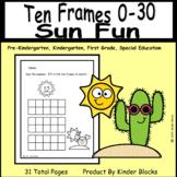 Sun Fun Counting Ten Frames Worksheets 0-30