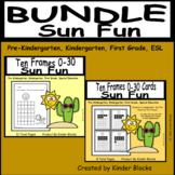 Sun Fun Ten Frame Cards and Worksheets Bundle