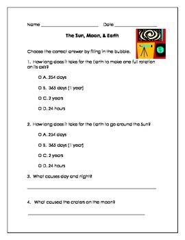 Sun, Moon, & Earth Assessment