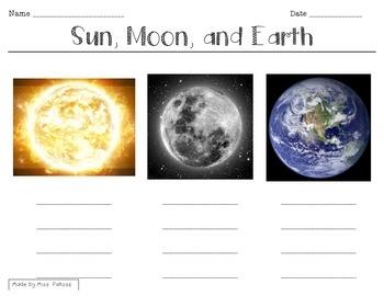 Sun, Moon, Earth Characterization Worksheet