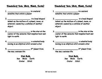 Sun, Moon, Earth Vocab Pack