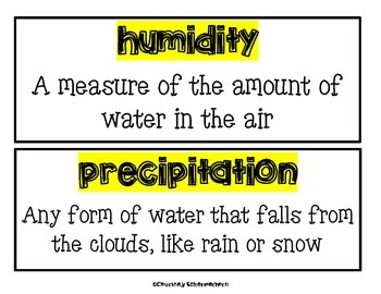 Vocabulary Cards-Earth Science (Weather; Earth/Sun/Moon; Water Cycle)