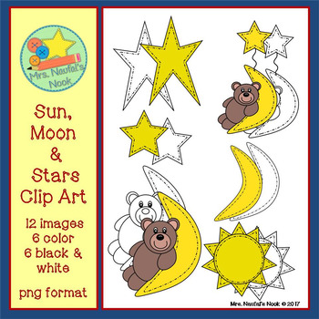 Sun, Moon and Stars Clip Art