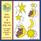 Sun, Moon and Stars Clip Art