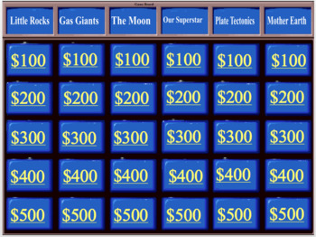 Sun, Moon, and Stars Jeopardy Game