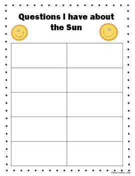 Sun, Moon, and Stars Packet- For use with videos or research