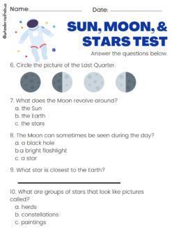 Sun, Moon and Stars Unit Pre/Post Test