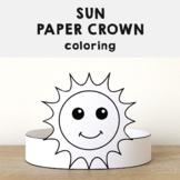 Sun Paper Crown Headband Printable Coloring Spring Summer Craft Activity