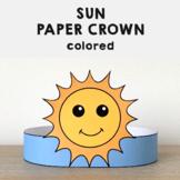 Sun Paper Crown Headband - Printable Spring Summer Craft Activity Template