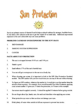 Sun Protection Lesson