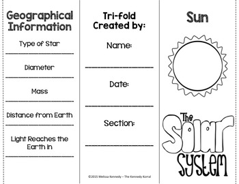 Sun Research Trifold {Space Research, Planets, Solar System}