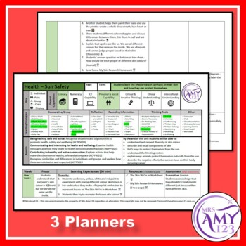 Sun Safety and Skin Unit- 3 Year Level Planners and Resources-ACARA Aligned