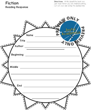 Sun Shaped Reading Response Sheets for Any Book