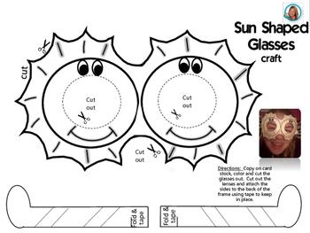 Solar Eclipse 2017 Sun Shaped Spring or Summer Sunglasses (alliteration) Craft