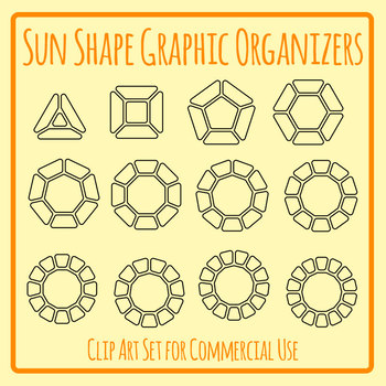 Sun Shapes Graphic Organizer Templates Clip Art Set for Commercial Use