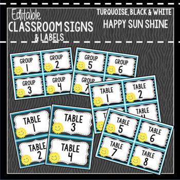 Sun Shine Smiles: Editable Classroom Signs & Labels