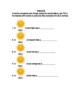 Simile Sun Worksheet