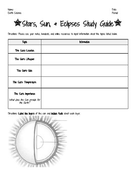 Sun, Stars, and Eclipses Study Guide